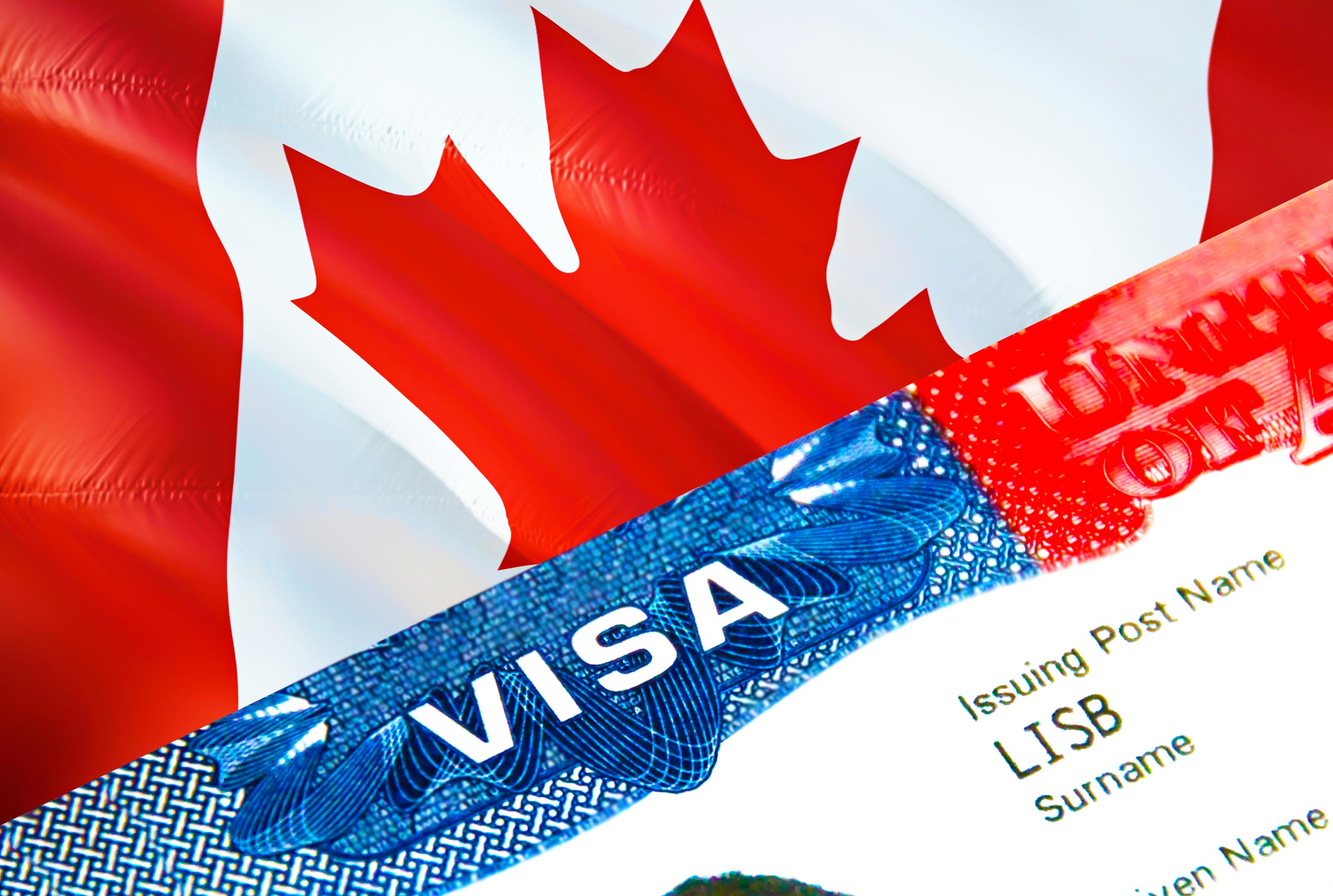 Канадский флаг и виза для ведения бизнеса в стране