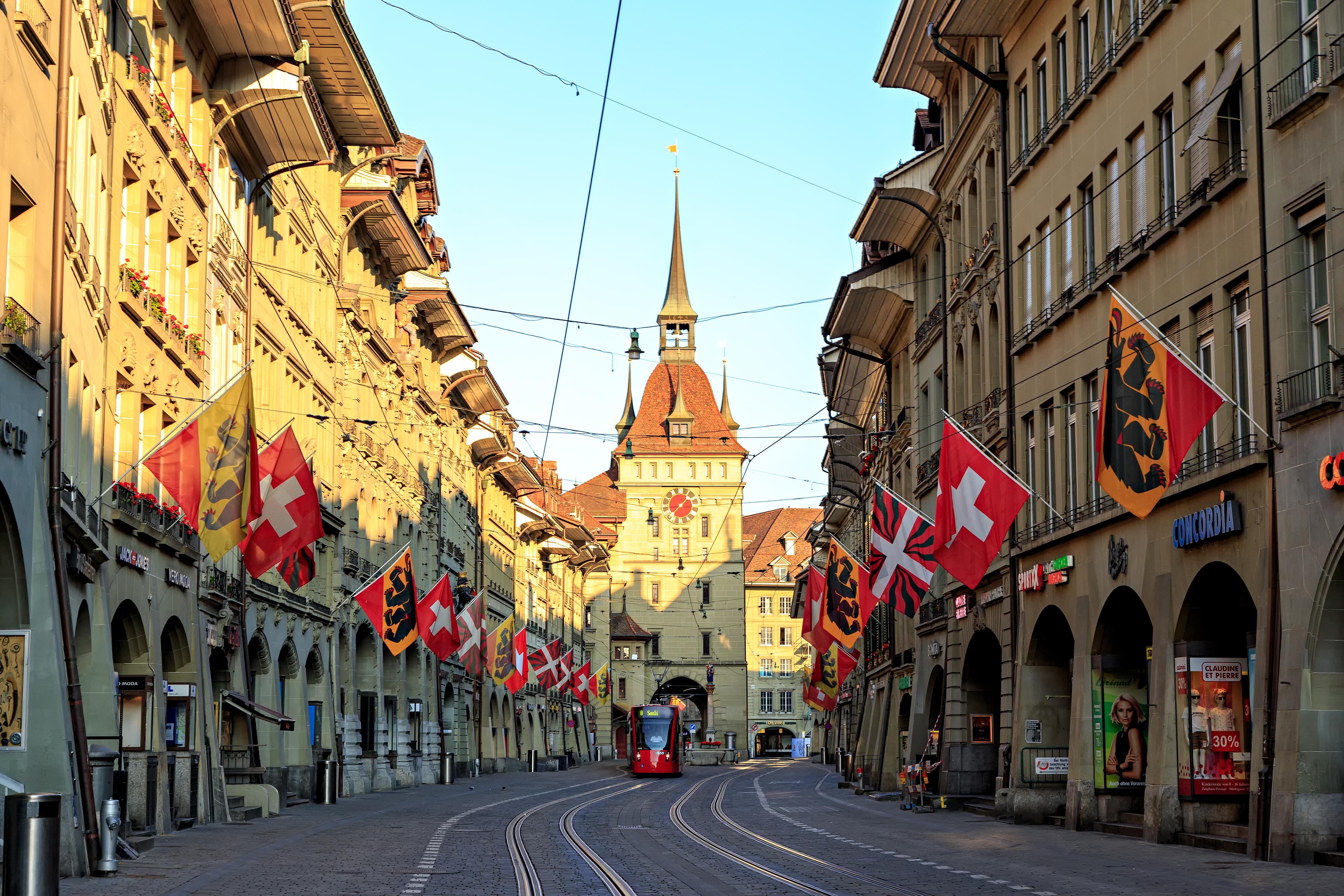 Улица в Берне, столице Швейцарии, где наилучшая система здравоохранения