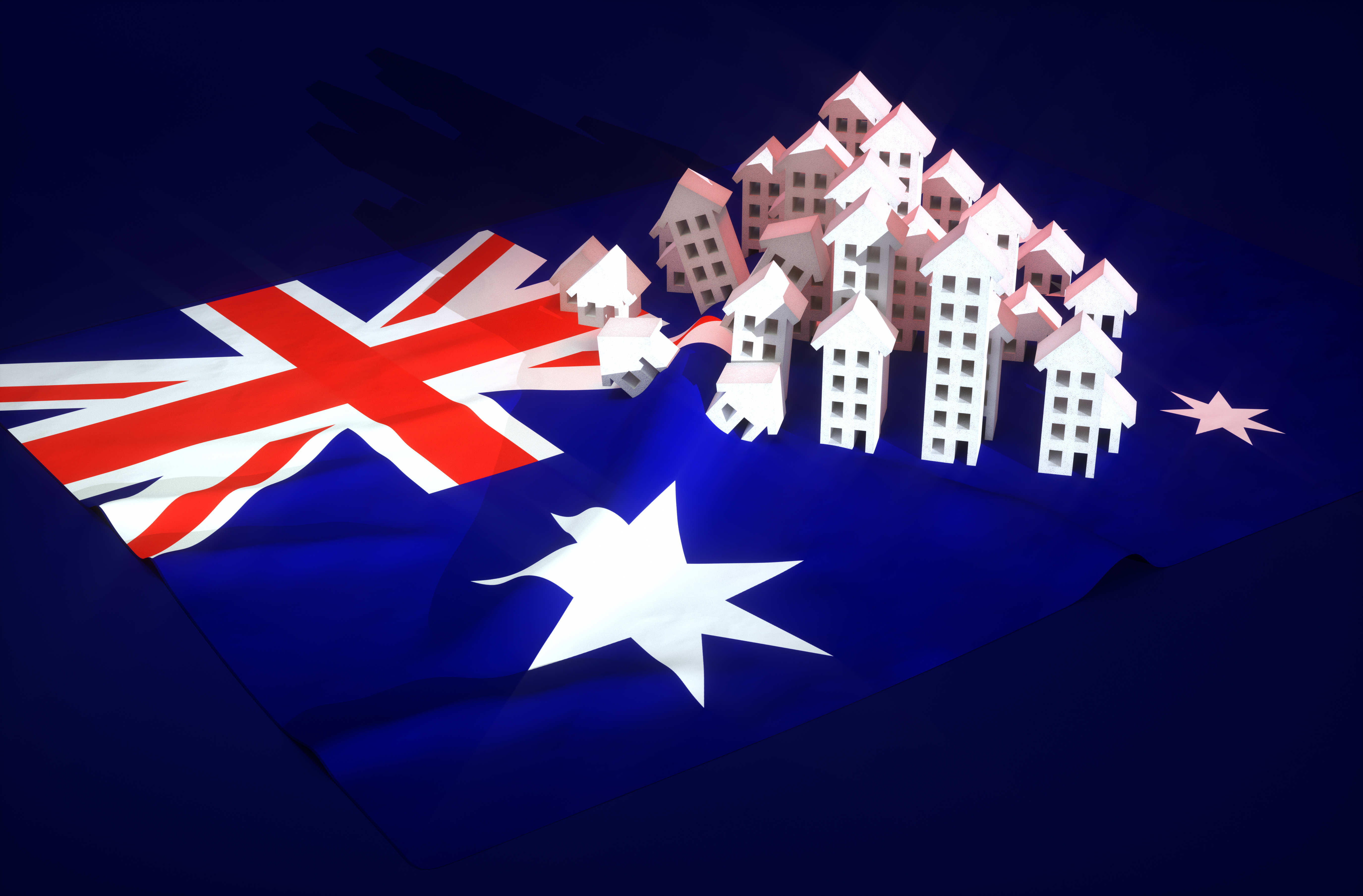 Австралийский флаг и дома, которые могут купить иностранцы