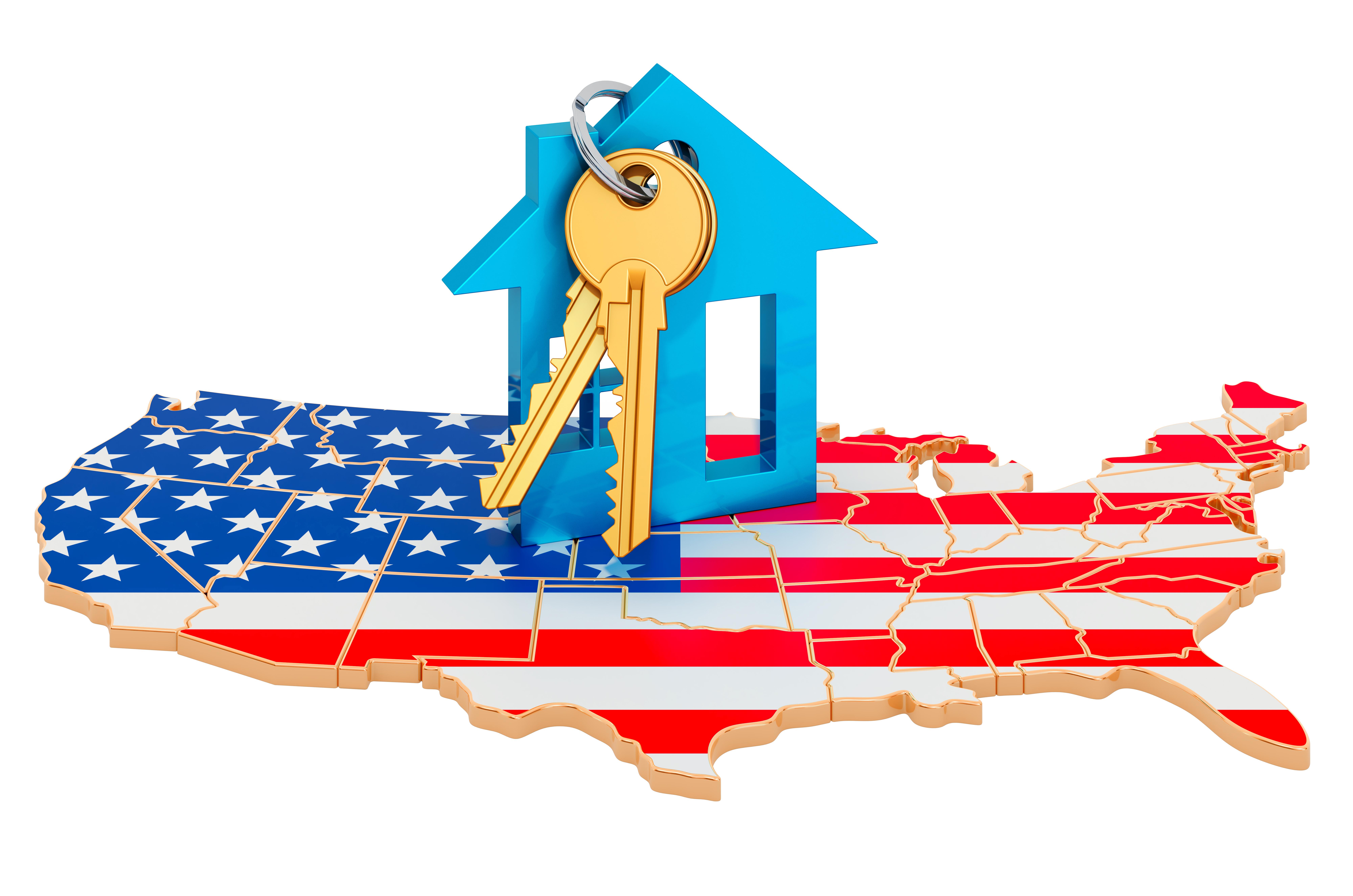 Дом на флаге США, страны, недвижимость в которой могут купить иностранцы