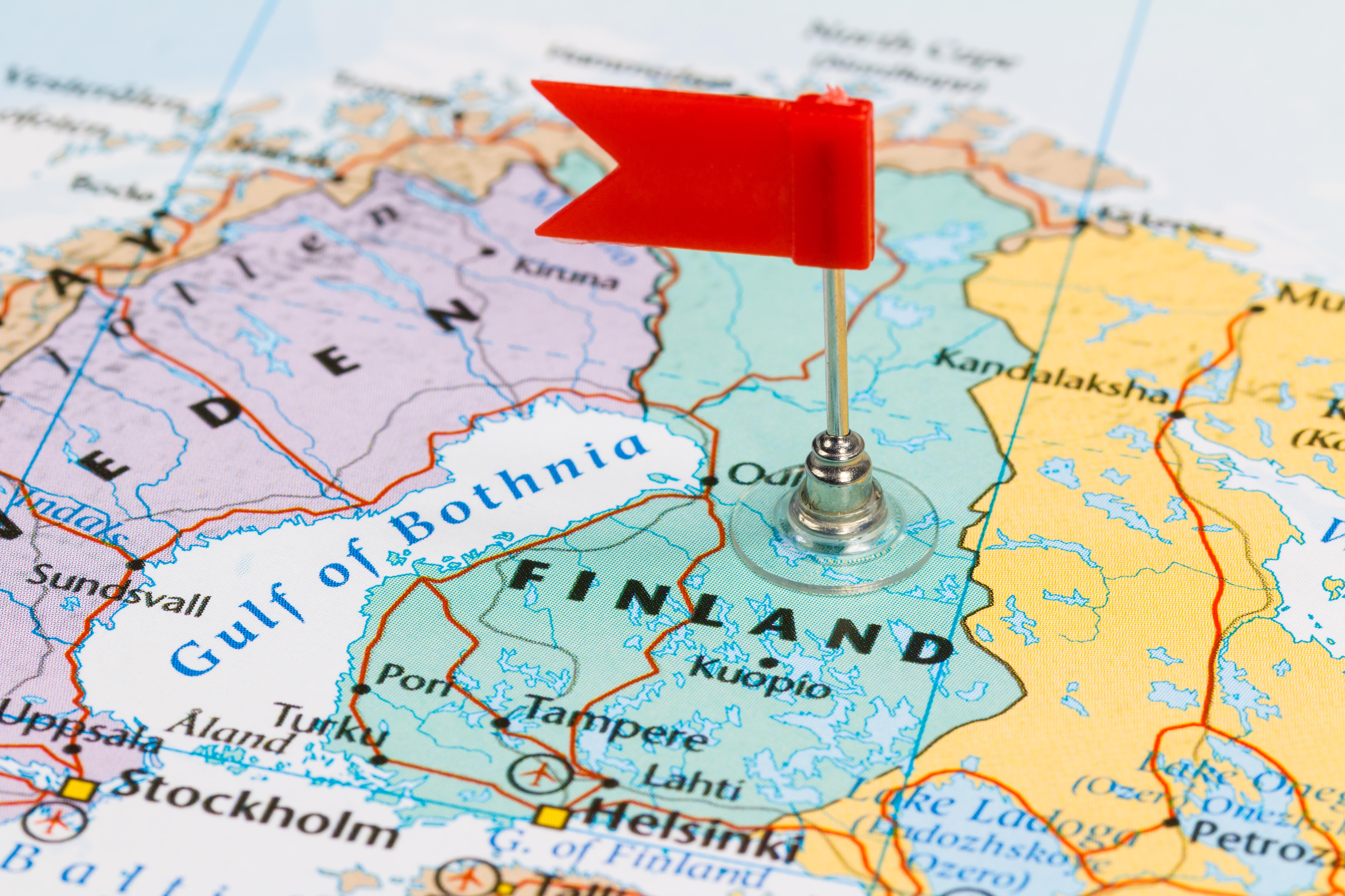 Карта Финляндии, куда иностранцам надо оформлять визу для работы